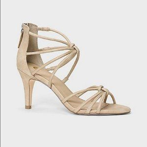 Dress Barn Alivia Gold Strappy Knot Stiletto Heel